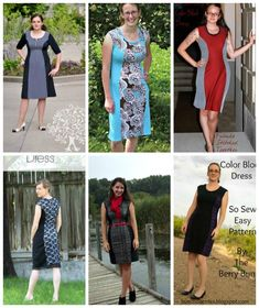 Simple but effective color block dress pattern. Sew yourself this very flattering dress and look slimmer than you really are! Easy to sew dress pattern. Dress Tutorials, Sewing Tutorials, Sewing Projects, Sewing Blogs, Sewing Tips, Sewing Ideas, Make Your Own Clothes, Easy Sewing Patterns, Love Sewing