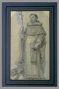 Inventaire du département des Arts graphiques - Saint Dominique tenant une croix dans la main droite - DIEPENBEEK Abraham van