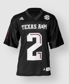 """Look just like the Fightin' Texas Aggie football players with this specialty #2 black jersey. It looks just like the jerseys that the players wear and features a large 2 on the front and back. The front also features """"Texas A"""" above the 2, the SEC logo and the Adidas logo."""