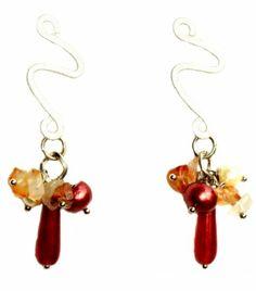 Aros Marquesa. Gotas y escallas de piedras naturales, perlas naturales de rio y base con diseño hipoalergénica.