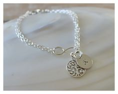 Infinity bracelet, double chain, tree of life charm, personalized - beaucoup de beads by BeaucoupdeBeads on Etsy