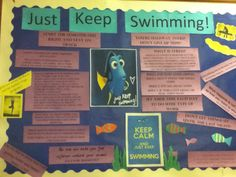 """""""Just Keep Swimming"""" Board about making it through the rest of the year and to persevere, and how not to be stressed about it. I also had some quotes from people about not worrying about things too much. Also tied in an RA program for yoga."""