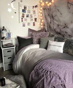 Purple Dorm Rooms, Purple Bedrooms, Cute Dorm Rooms, College Dorm Rooms, Bedroom Ideas Purple, Girl Dorm Rooms, Diy Dorm Room, Diy Room Decor For College, Dorm Room Themes