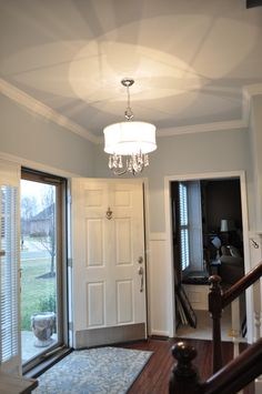 Behr Light French Grey paint, and foyer makeover