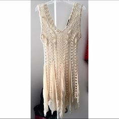 LF QED London Dress//Coverup Perfect for the summer time beige knit dress/cover up from LF! Can be worn as a dress layered or a cover up to the beach! For reference I'm normally a size S so it fits loose on me. Good condition with light wear but a lot of life left! LF Dresses Mini