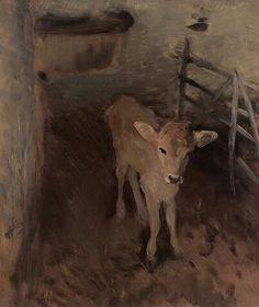 """John Singer Sargent, ""A Jersey Calf""; oil on canvas (1893)"""