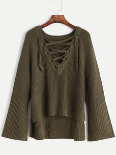29$  Buy now - http://dieou.justgood.pw/go.php?t=11950 - Army Green Eyelet Lace Up Bell Sleeve High Low Sweater 29$