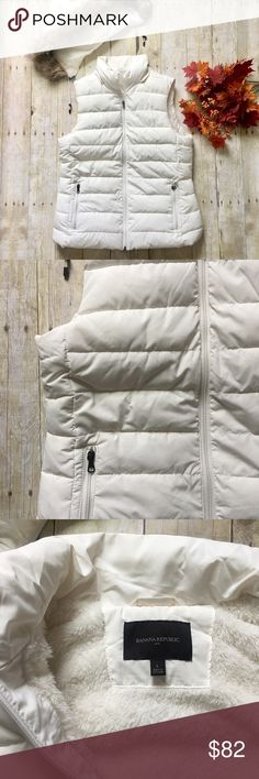 "Off White Quilted Winter Vest with Hood. NWOT NWOT. Never worn. Great off white color. Zip up with two front zip pockets. True to size.m (Large). Fuzzy inside. Detachable hood. Length (shoulder to bottom hen) is 26 inches. Shell, lining, and filling 100% polyester, faux fur trim 63% acrylic, 19% polyester and 18% modacrylic.  ❌ No trades or off Poshmark transactions.   👌🏻Quick shipping.   💁🏻Offers welcome through ""Make an Offer"" feature.   👗👠 Bundle discount.   ❔ Feel free to ask any…"