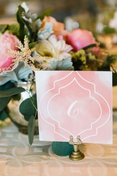 Simple yet elegant. We're gushing over this pretty watercolor #wedding table number. Ideas for #MammothWeddings