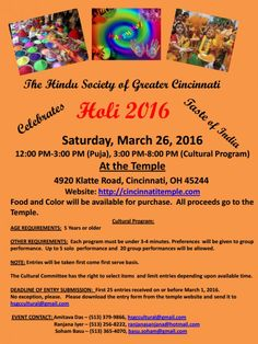 Holi 2016 in Cincinnati at The Hindu Temple of Greater Cincinnati, 4920 Klatte Rd, Cincinnati, OH, Tickets, Indian Events Desi Events