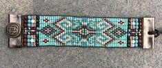 Beaded woven loom leather bracelet seed bead tribal aztec