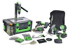 All-in-one workstation. Includes 8 Power Tools – Separate Drill, Circular Saw, Jigsaw and Flashlight easily attach to the POWER8 Box to create 4 powerful table tools: Drill Press, Table Saw, Scroll Saw, & Table Light. $499.95