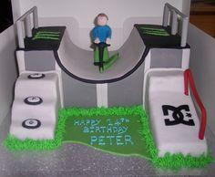 Skate Park Cake Birthday Party At Park, 16 Birthday Cake, 10th Birthday Parties, 14th Birthday, Boy Birthday, Birthday Ideas, Scooters, Skateboard Cake, Thomas Cakes
