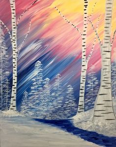 Winter Rainbow Birch at Lakeview Bistro - Paint Nite Events near Mahopac, NY>
