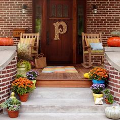 Porch with Monogram & Mums