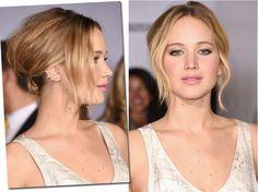 A atriz Jennifer Lawrence optou pelo coque solto, preso embaixo e com a franja levemente ondulada, dando um toque despretensioso ao look.  Além disso, as ondas são a cara do verão. Ótima opção para fazer o penteado na estação