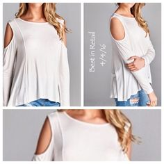 HPCold shoulder lightweight top. This alluring top plays peek-a-boo with your shoulders, as the lightweight top skims softly against your skin. Pair it with jeans for a casual-chic look. Add a few well-chosen accessories and you're out the door looking fabulous.  Material is 96% rayon 4%. April Spirit Tops Tees - Long Sleeve