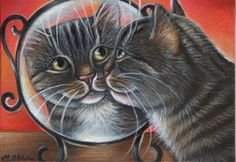 Gray Tabby Kitty Painting