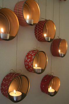 DIY Christmas decorations: Hanging Tin Can Lanterns Tin Can Lanterns, Lantern Decorations, Diy Lantern, Ideas Lanterns, Mason Jar Lanterns, Hanging Lanterns, Candle Lanterns, Glass Candle, Tin Can Crafts