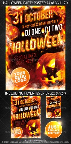 """""""Halloween party template"""" for a mainstream music event or any other night club event. Files are structured in folders for easy editing.Change text, edit colors, move items, turn/off layers creating tons off different looks.All text styles are included.The above images used all included in the download. Contents:¨C 2 labeled .psd file¨C 1 readme .t"""