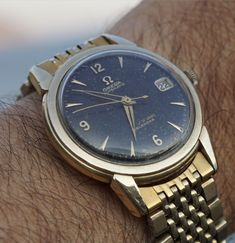 Vintage Omega Seamaster Calendar In Gold-Cap Circa 1956 - https://omegaforums.net Omega Seamaster Seamastercalendar Vintage Menswear Mensfashion wristshot Womw Wruw Horology Classic Timeless Watches Watchporn Fashion Style Preppy Montres Uhren Orologio Calibre503 Cal503