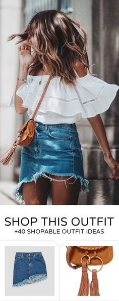 #summer #outfits  White Off The Shoulder Top + Denim Skirt