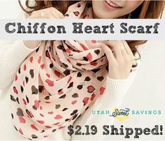 Utah Sweet Savings: Chiffon Heart Print Scarf for $2.19 Shipped!