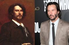 American actor Keanu Reeves bears a striking resemblance to a 19th century French actor named Paul Mounet.