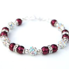 Cranberry Pearl Rhinestone Bracelet Red Bridesmaid by AMIdesigns
