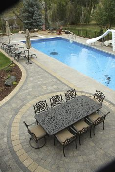 idea ~ expand with pavers beyond pool apron.