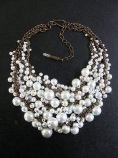 "Pearl Bib Necklace Ivory White by savage salvage: Love the name ""Mermaid Farts"""