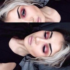 Red pink eyeshadow. Grunge makeup goth 90s