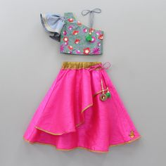 Pre Order: One Shoulder Grey Embroidered Top And Hot Pink Ghagra Baby Girl Dresses Fancy, Kids Party Wear Dresses, Baby Girl Birthday Dress, Girls Party Wear, Kids Dress Wear, Kids Gown, Stylish Dresses For Girls, Frocks For Girls, Kids Outfits Girls