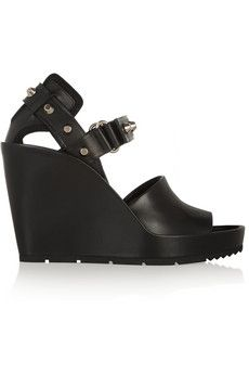 Balenciaga Studded leather wedge sandals | NET-A-PORTER
