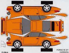 Got Funny Porsche Pics? Paper Model Car, Paper Car, Paper Models, Diy Paper, Cardboard Toys, Paper Toys, Origami, Imprimibles Toy Story, Hobby Toys