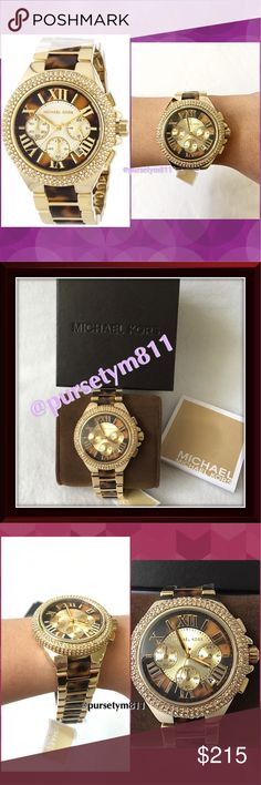 HPAuthentic Michael Kors Camille Women's Watch % AUTHENTIC  A beautiful and on trend glitzy design from Michael Kors . This piece is made of gold plated steel & has a glitzy stone set bezel. The striking dial has a brown outer edge w/ champagne center which highlights the chronograph function. This watch powers w/ a quality quartz movement. Michael Kors Camille Chronograph Women's Watch. New w/ tag. Box & card included  NO TRADE ❌ Michael Kors Accessories Watches
