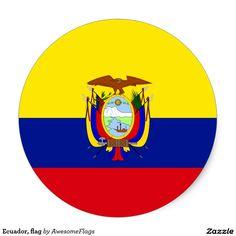 Ecuador, flag round sticker