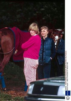 Motherhood ~ Princess Diana looks like she has a baby bump in these red and white checked pants