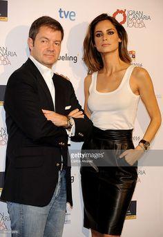 Spanish model Ariadne Artiles and designer Javier Larrainzar promote Gran Canaria Moda Calida on June 8, 2010 in Madrid, Spain.