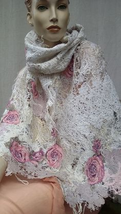 Your place to buy and sell all things handmade Fiber Art, White Lace, Shawl, Clouds, Silk, Crystals, Unique, Cotton, How To Wear