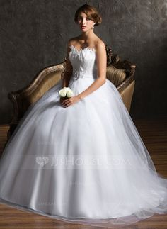 Love this one too http://www.jjshouse.com/Ball-Gown-Sweetheart-Court-Train-Satin-Tulle-Wedding-Dress-With-Beading-Feather-Flower-S-002004769-g4769
