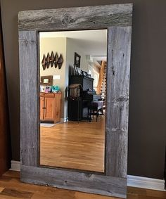 Custom barn board mirrors that can be made to any size! Bathroom vanity, hallway, entryway, full length and more! Oversized Mirror, Frames, Lightbox, Rustic, Mirrors, Furniture, Home Decor, Country Primitive, Decoration Home