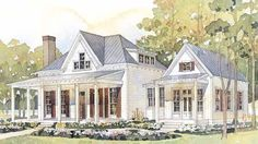 Cottage House Plan with separate master screened porch and attached