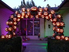 Arch using foam pumpkins. Love this.