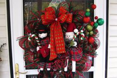 Snowman Couple Deco Mesh Christmas Wreath by WreathsEtc on Etsy