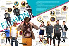 This is a layout that has a busy design that really works. The info circles help to draw all the students together. Fashion layout for IFHS yearbook