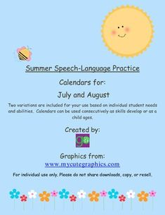 Free! July and August calendars for Summer Speech-Language Practice
