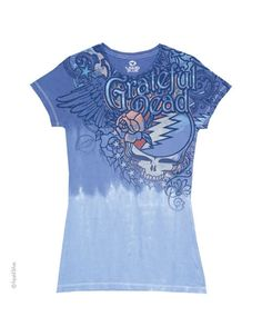 Grateful Dead Dead Flowers Womens Long Length T-Shirt - This womens Grateful Dead long length t-shirt in light blue, features the bands classic Steal Your Face logo printed on its front, decorated