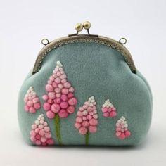Handmade needle felted cute myosotis project purse vintage shoulder co   Feltify