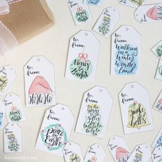 Watercolor Christmas Gift Tags — Liz on Call Neighbor Christmas Gifts, Cute Christmas Gifts, Christmas Christmas, Christmas Stockings, Christmas Tables, Modern Christmas, Scandinavian Christmas, Watercolor Bookmarks, Watercolor Cards